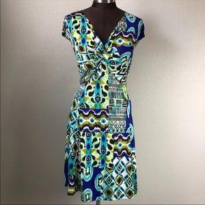 Tiana B. Teal Turquoise Ikat Stretch Dress 1X